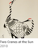 Two Cranes at the Sun
